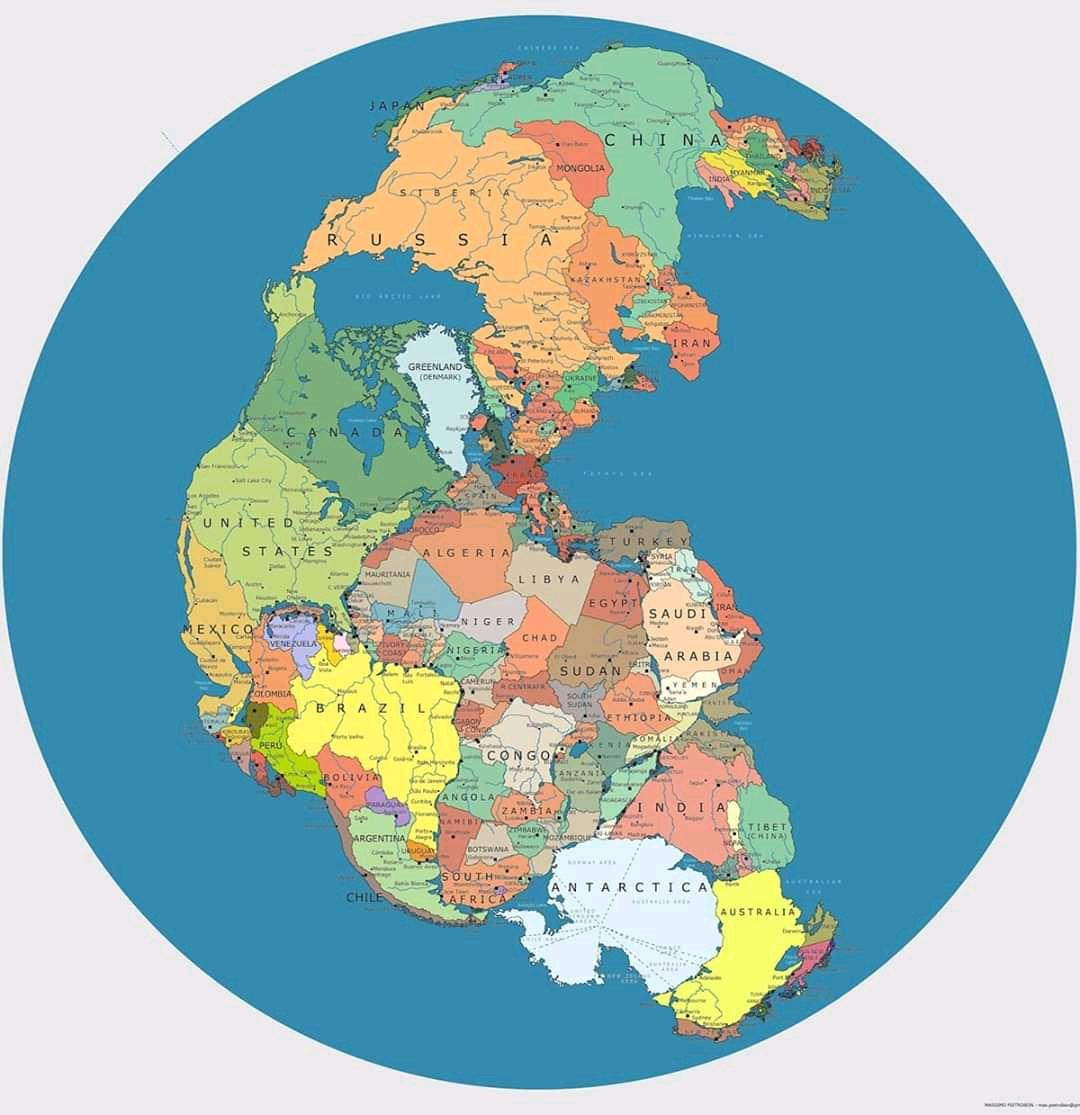 """সুপার কন্টিনেন্ট """"প্যানজিয়া""""য় আধুনিক দেশসমূহ"""